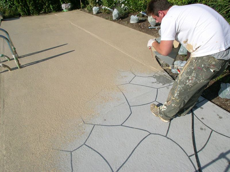 Colored concrete pool deck ideas is concrete resurfacing for Cool decking around pool