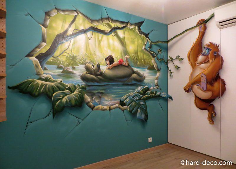 fresque murale graffiti sur le livre de la jungle ...