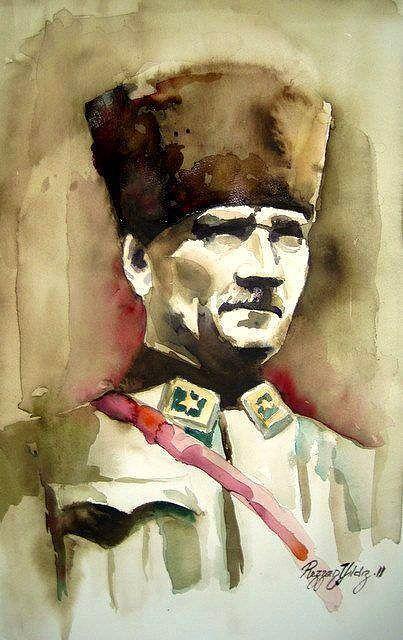 Sulu Boya Ile Cizilmis 15 Muhtesem Ataturk Portresi 2020 Sulu Boya Cizim Egitimleri Poertre Resimleri