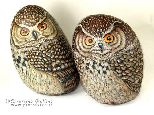 Owls painted on rocks by sassidipinti, via Flickr