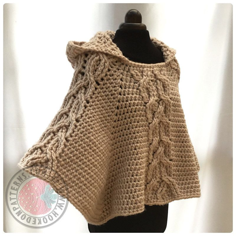 Milena Twist Cable Hooded Poncho - Crochet PDF Pattern | Hooded ...