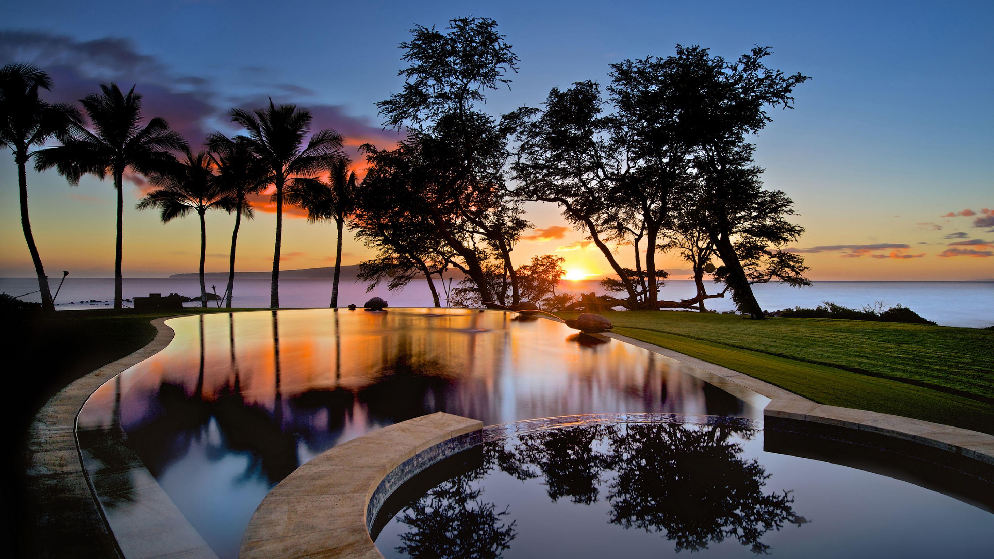 3840x2160 Wallpaper usa, hawaii, maui, swimming pool