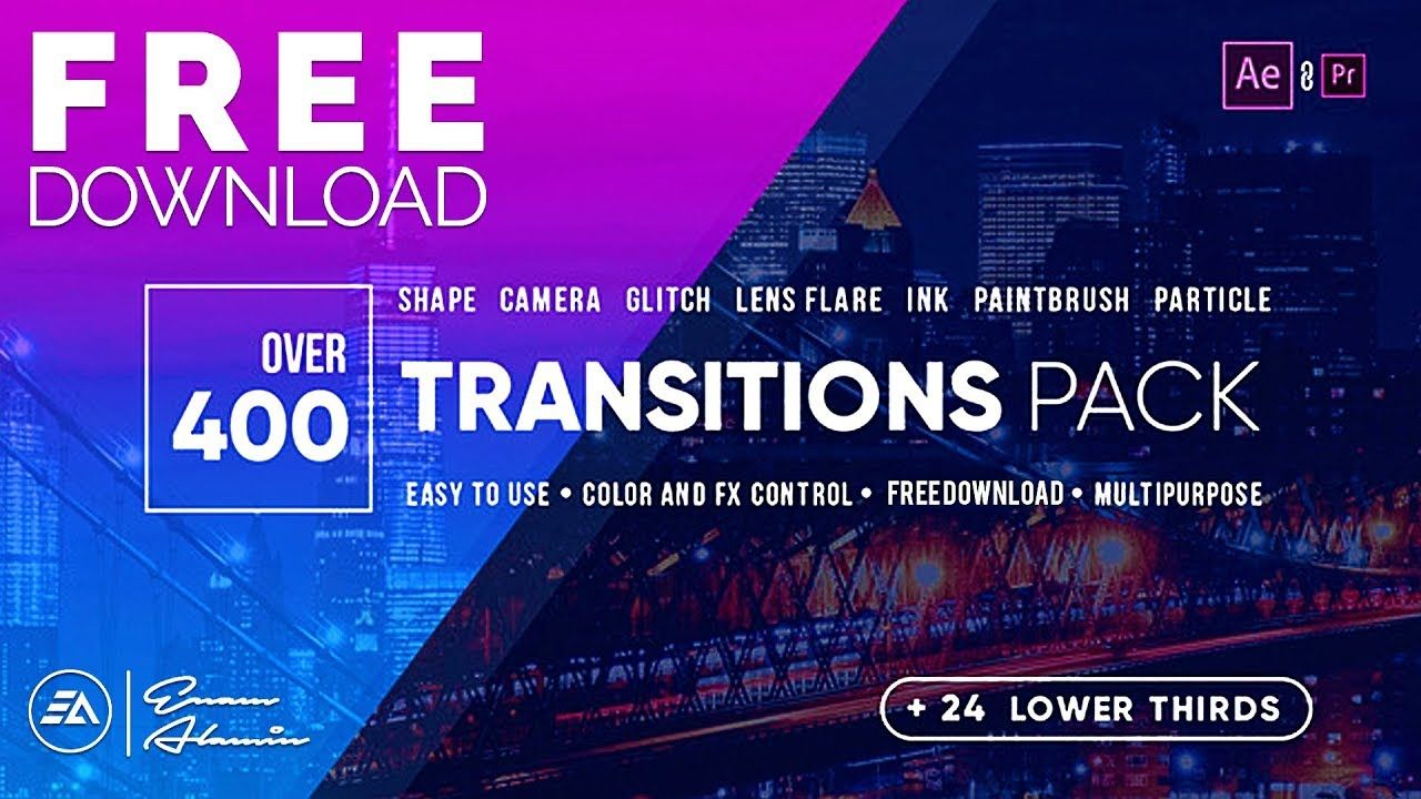400+ Transitions Pack & Lower Thirds Pack FREE Download for