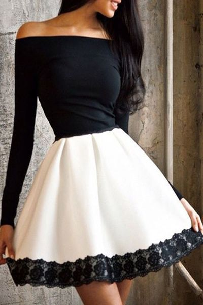 d20d4248e6 Off-The-Shoulder Color Block Fit And Flare Dress WHITE AND BLACK  Long  Sleeve Dresses