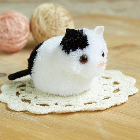 Little White Cat Pom pom DIY Kit - Japanese Craft Kit H363-167