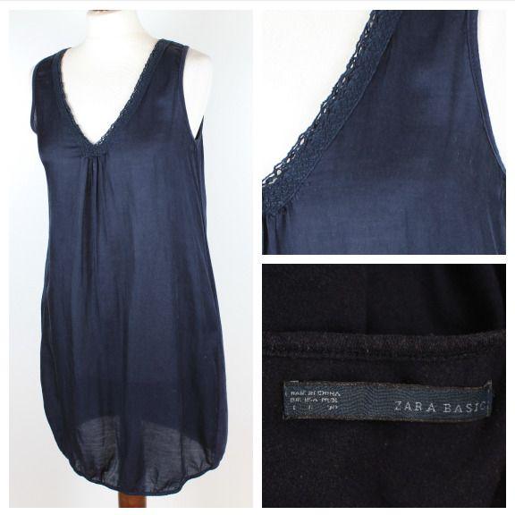 1c094f1925711 ZARA Basic Ladies Cotton Silk Navy Sleeveless Pockets Summer Tunic Dress  Size L  Zara