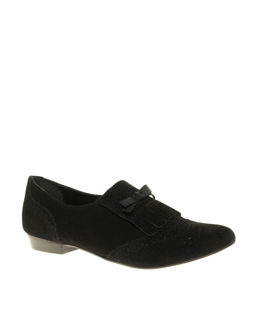 Kiltie loafer slip ons with little bow