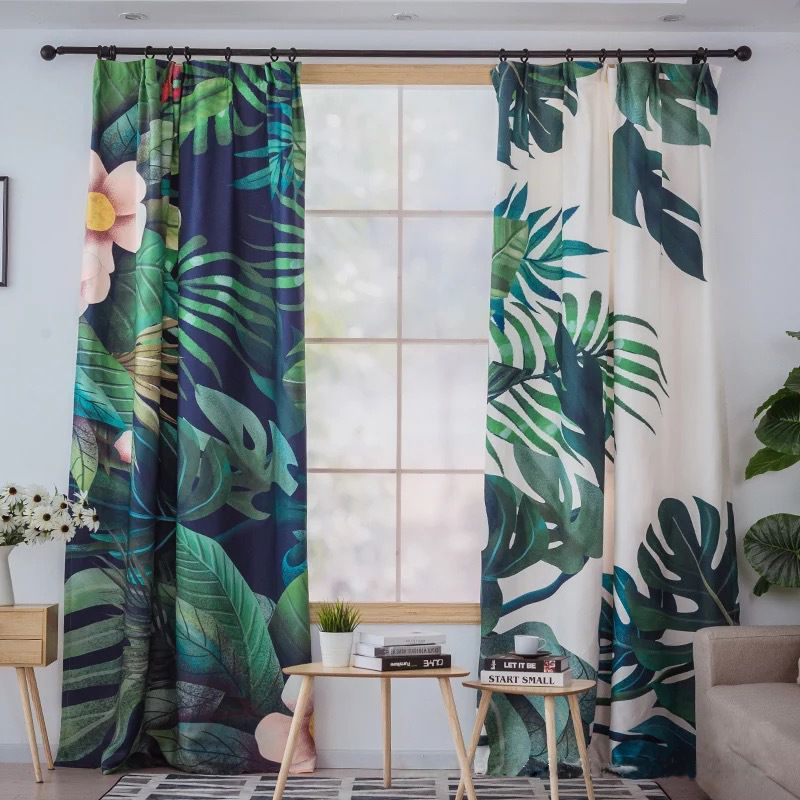 Banana Leaf Palm Tree Tropical Curtains Chic Kelly Green Pint