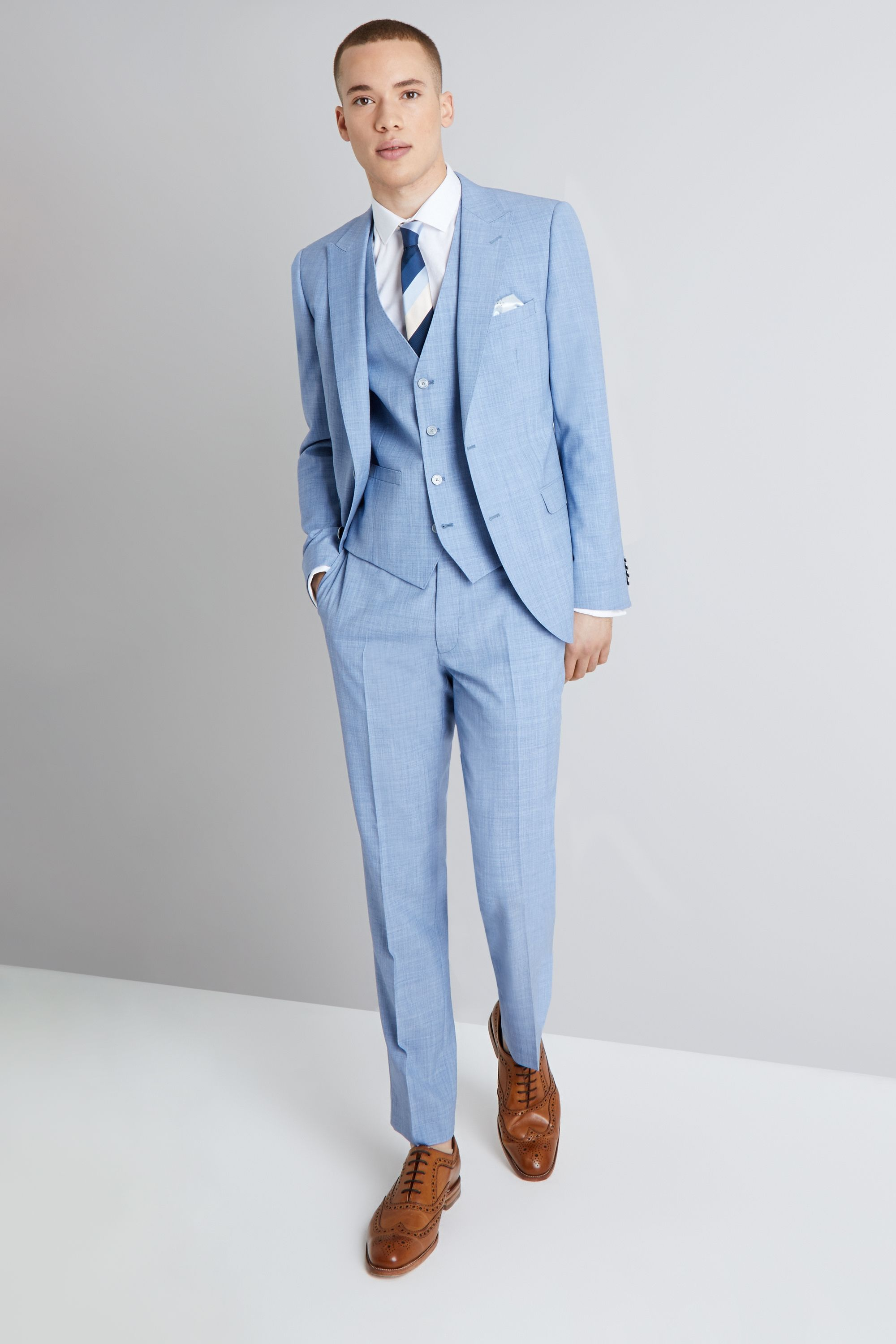French Connection Slim Fit Sky Blue Marl Suit | Wedding suits