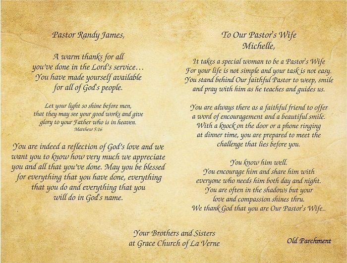 pastor clergy and first lady wife gratitude appreciation poems print