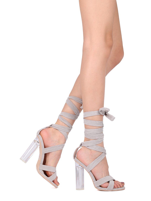 347785016c4d Shoes Women Faux Suede Open Toe Ankle Wrap Perspex Block Heel Sandal ...