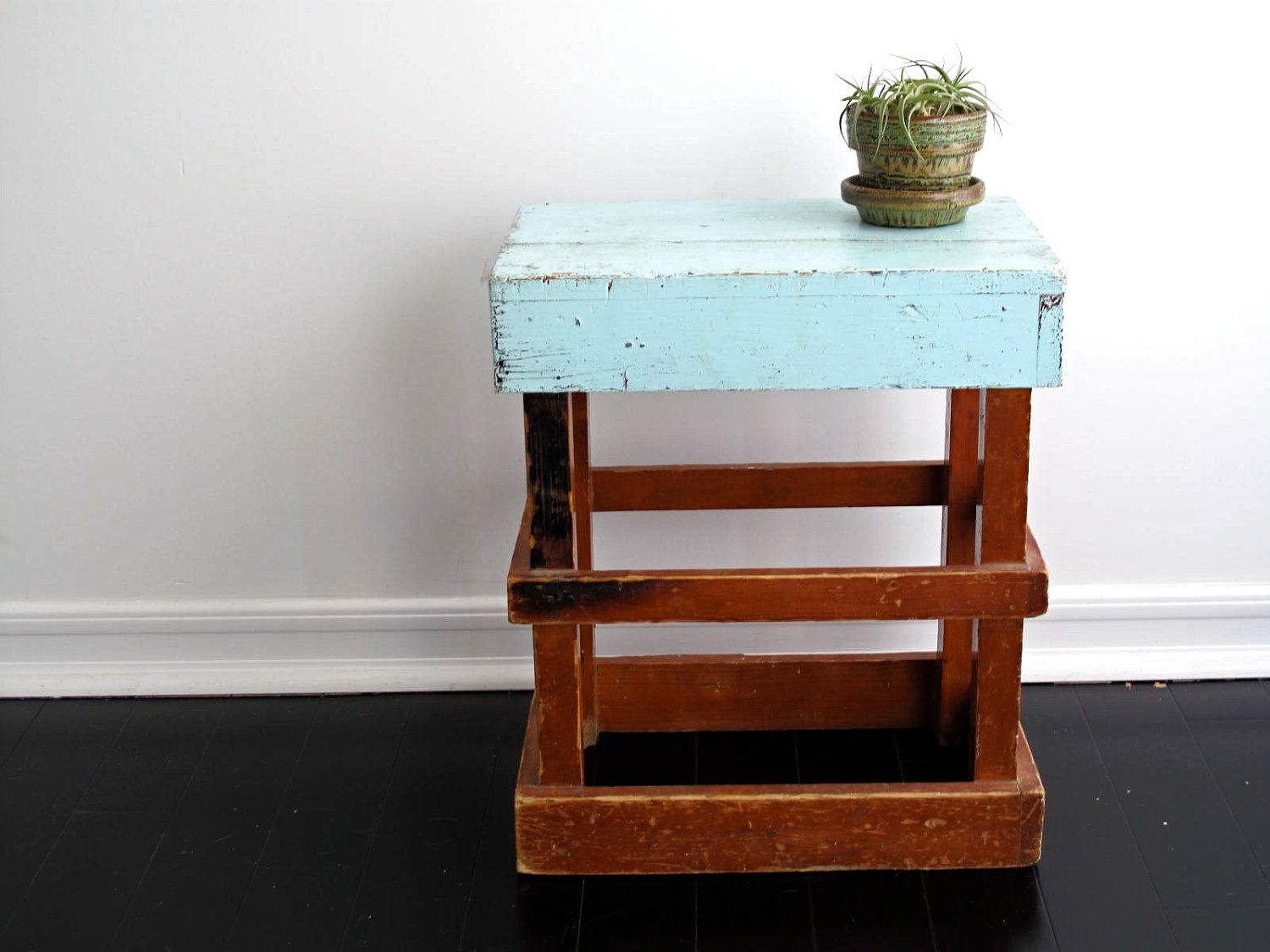 Wood Side Table Blue Rustic End Table Industrial Furniture