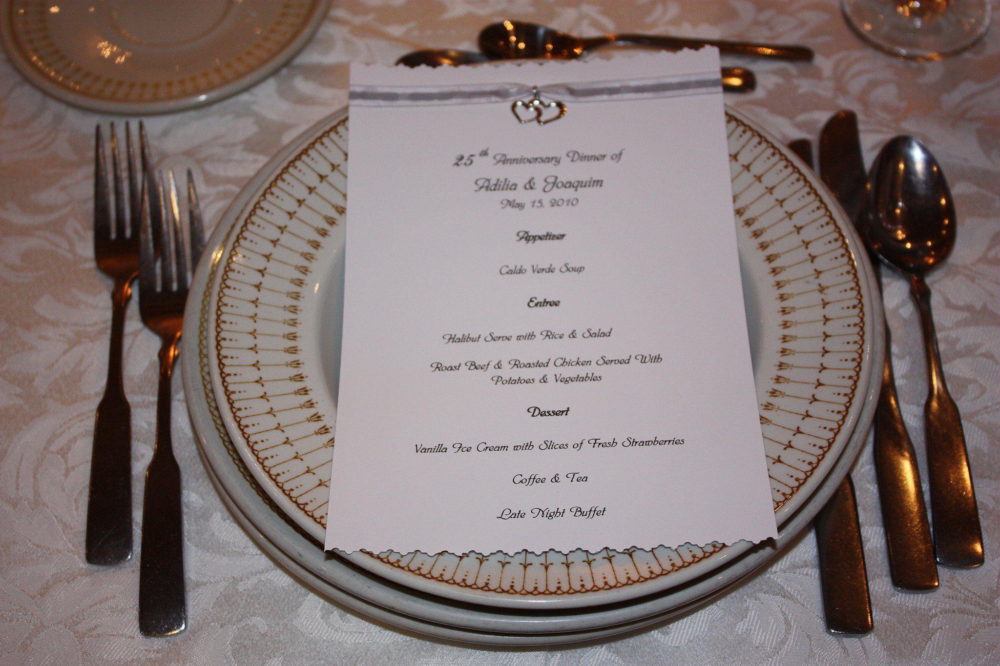 25th Wedding Anniversary Menu 25th Wedding Anniversary Wedding Event Planning Wedding Anniversary