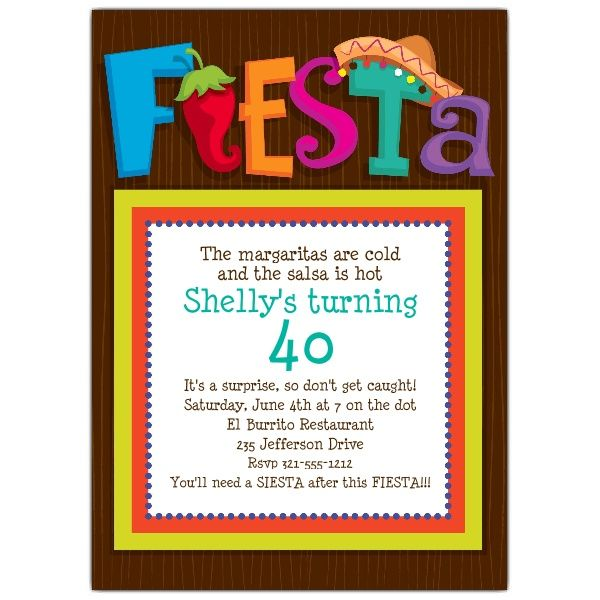 Lets Fiesta Party Invitations PaperStyle  - birthday invitation templates word