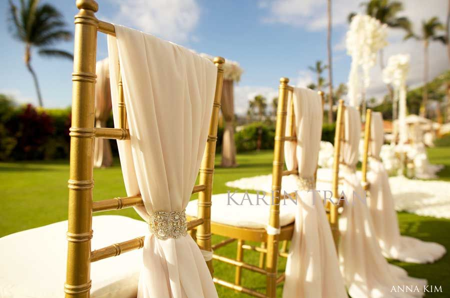 Brown Chairs Outdoor Ceremony Decorations: Elegant-wedding-chair-cover By Karen Tran (deep Purple