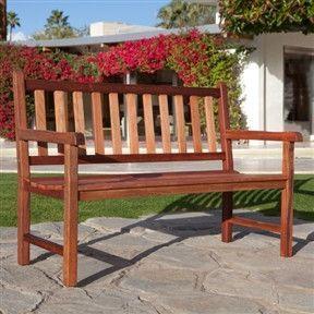 4-Foot Outdoor Wood Patio Garden Bench with Armrest | Wood ... on Belham Living Richmond Bench id=36951