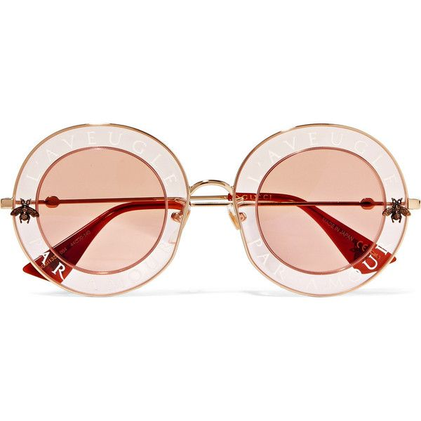 3c0505363e Gucci Round-frame printed acetate and gold-tone sunglasses ( 620) ❤ liked  on Polyvore featuring accessories