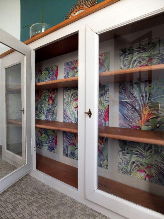 haut de buffet louis philippe vitré moderne bibliotheque vitrine