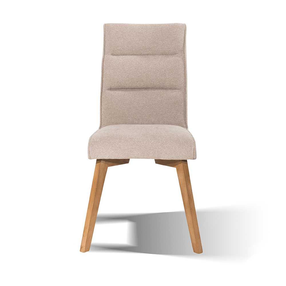 Sympathisch Esstisch Stühle Beige Dekoration Von Esszimmer Polsterstuhl In Stoff Holzbeine (2er Set)