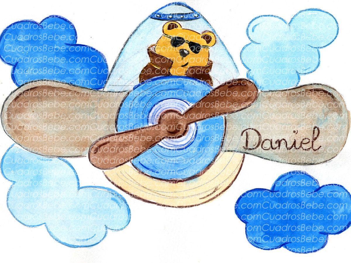 Cuadro bebe dibujos infantiles con un oso pilotando un - Imagenes para cuadros ...
