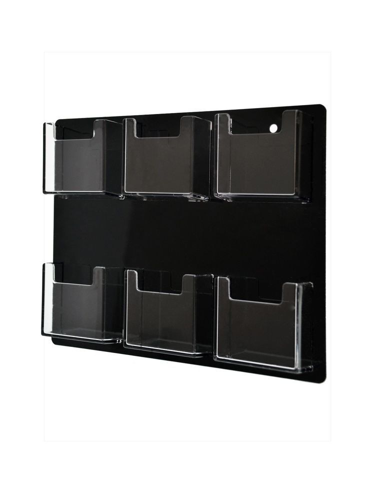 Vertical Business Card Holder 6 Pocket Wall Mount Clear Acrylic ...