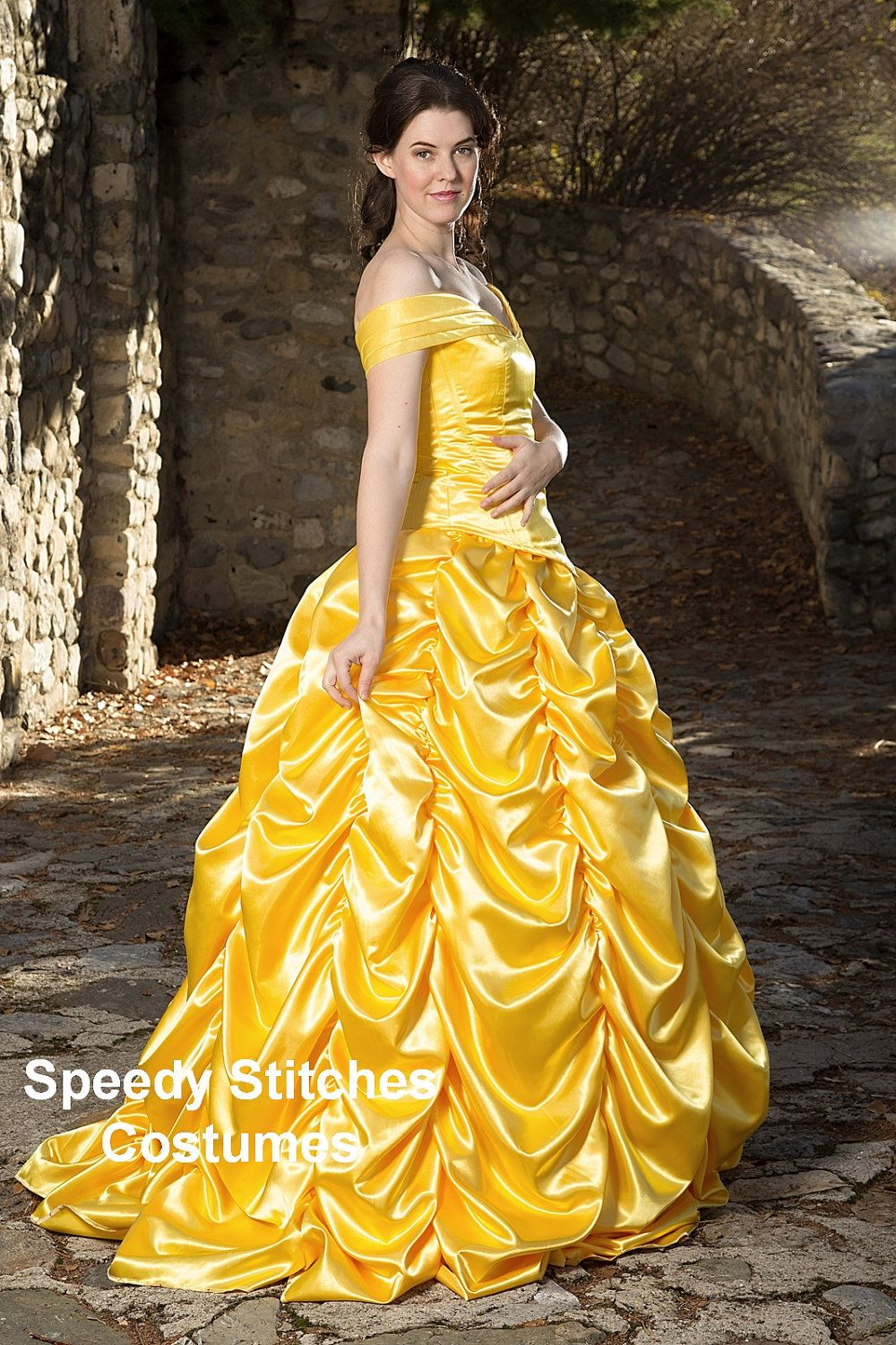 Adult Belle Princess Costume made in Gold washable satin  sc 1 st  Pinterest & Adult Belle Princess Costume made in Gold washable satin | The o ...