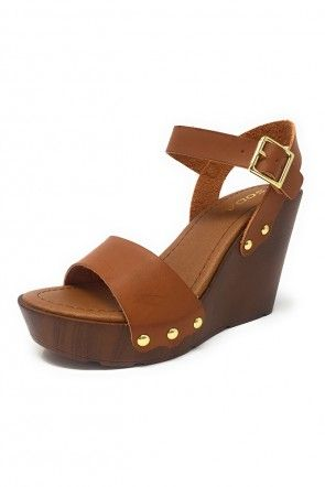 Studded Single Strap Wooden Wedge Sandals | Wedge sandals, Wedges and  Sandals
