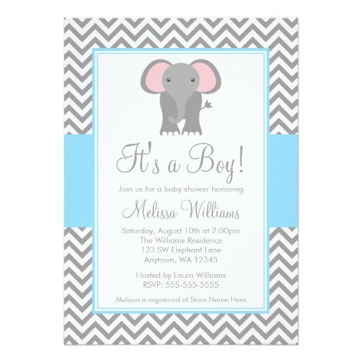 Elephant Invitations Baby Shower