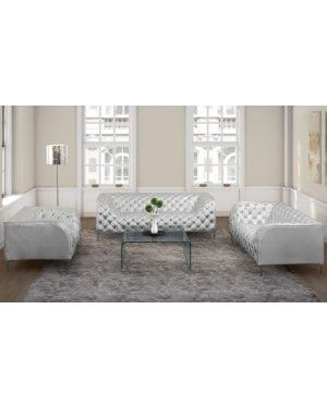 Zuo 900278 Providence Modern Silver Button Tufted Leather