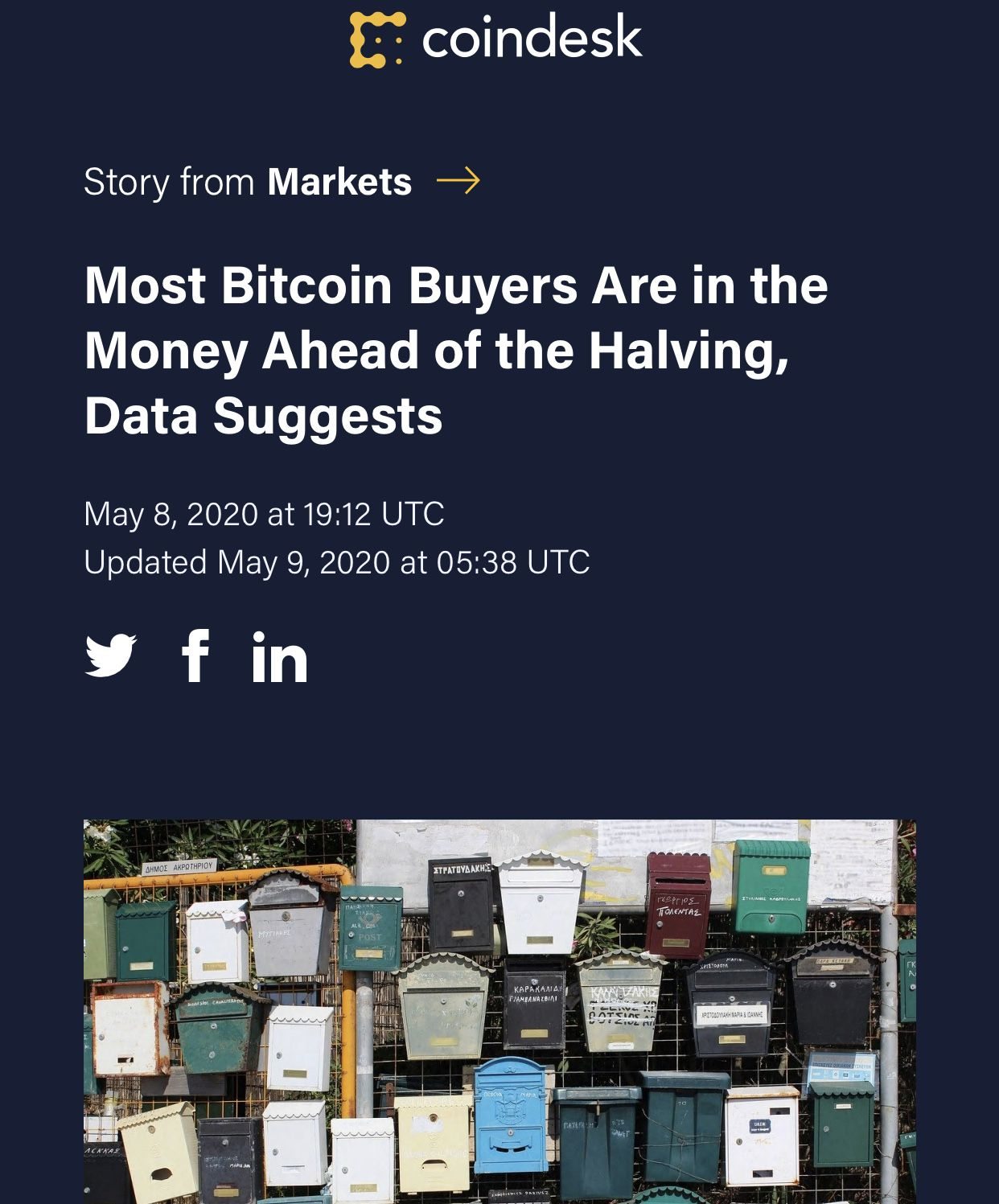 Most Bitcoin Buyers Are In The Money Ahead Of The Halving 大多數比特幣買家都在減半中賺錢 Https Www Coindesk Com Most Bitcoin Buyers A In 2020 Stock Market Marketing Bitcoin