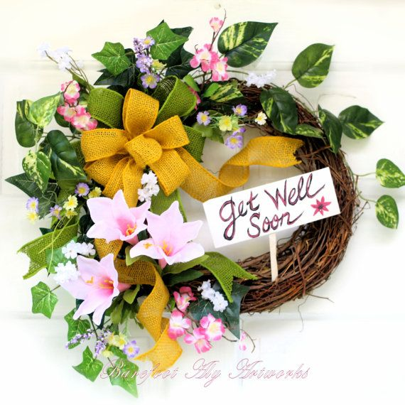 GET WELL SOONWreathGiftSilk by BarefootAlyArtworks on Etsy