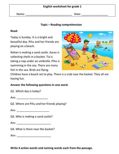 Comprehension worksheets for grade 1 ( 3 worksheets) 1st