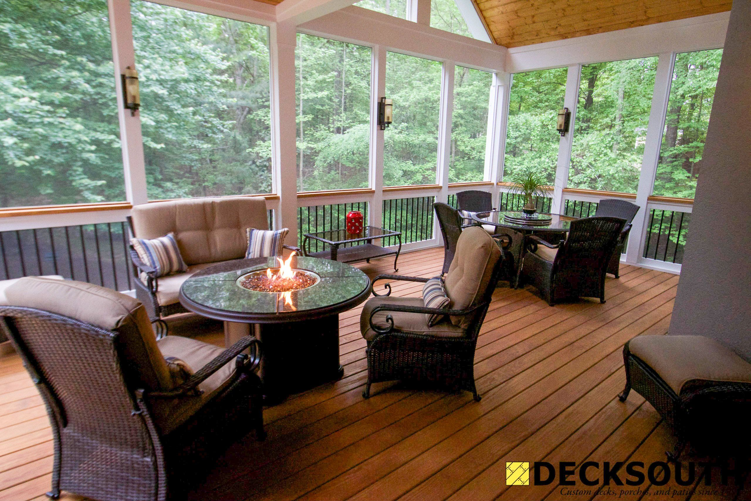 Screen Porch With Fire Table Outdoor Spaces And Porches