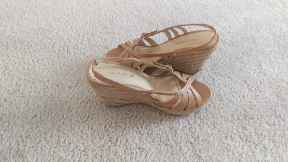 Ann Taylor Size 5 Tan Wedge Sandals Open Toes Platform Shoes #AnnTaylor #PlatformsWedges #wedge #style #shoes