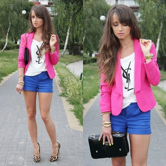 T Shirt, Bag, Heels, H&M Blazer