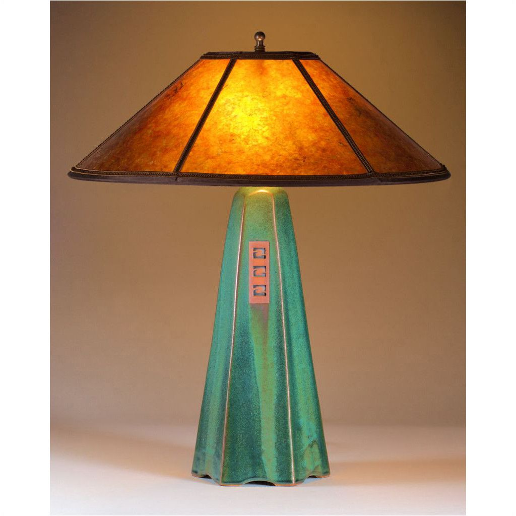 Six Sided Moss Glaze Table Lamp Hopewell Collection with Amber Mica Shade by Jim Webb
