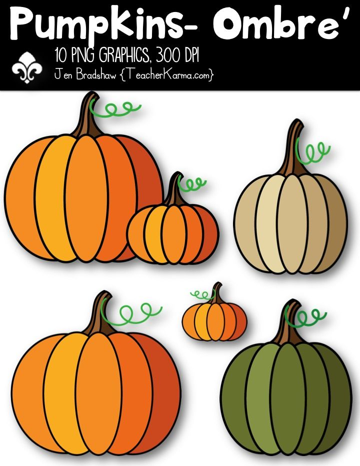 Pumpkins - Ombre' Clipart ~ Commercial Use OK -Autumn ...