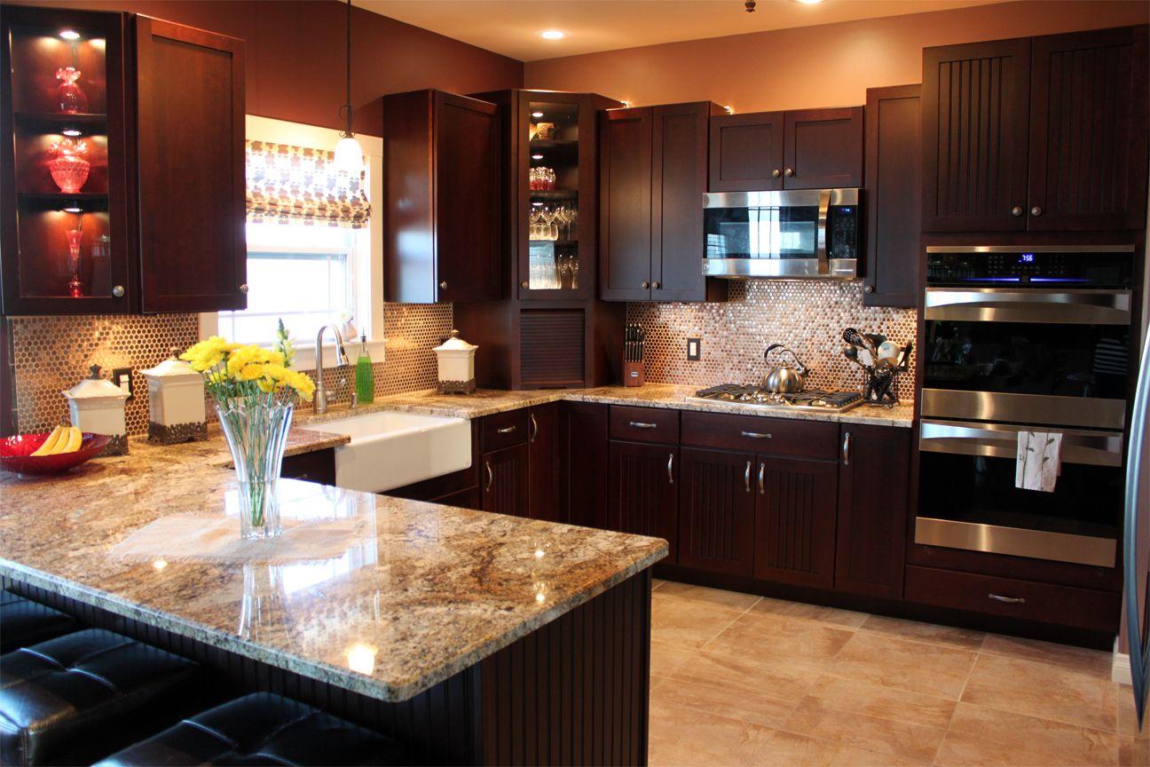 Bread cupboard wall oven gas stove granite apron sink