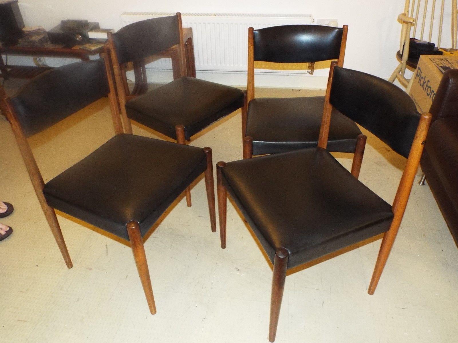 vintage 60s furniture. Set 4 Rosewood #retro Vintage 60s #dining Chairs #black Vinyl , View More Furniture M