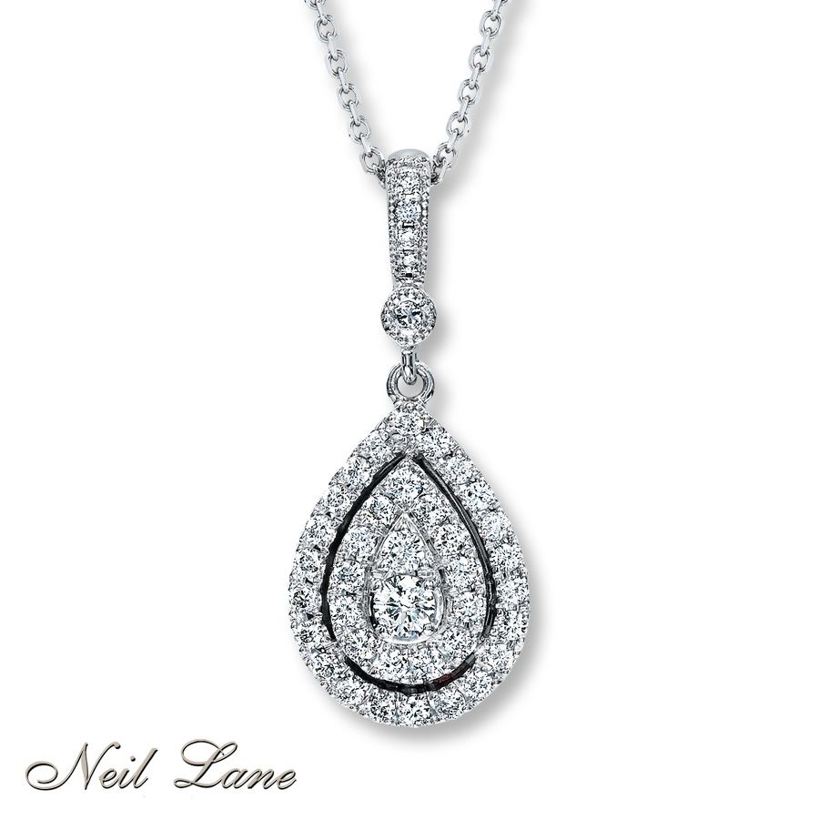 024bdcd5e neil lane jewelry at kay jewelers tear drop necklace | Kay - Diamond  Teardrop Necklace 1/2 ct tw Round-cut 14K White Gold matching necklace