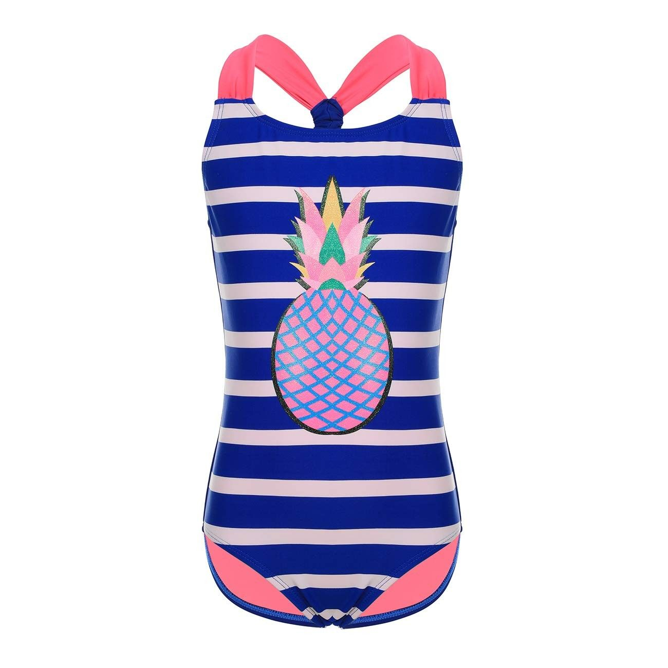 Girls' Beach Wear Bathing Suit One Piece Swimsuit 6-14 Years - Pineapple_dark Blue - CT18IIOXCU0 - S...