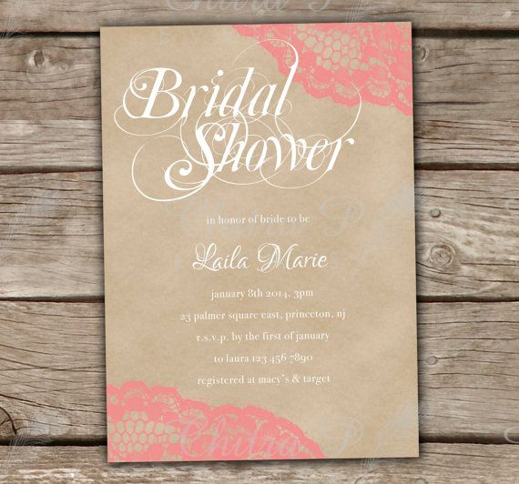 Rustic Bridal Shower Invitations with Luxe White Envelopes - Printed, Baby Shower, Wedding, Lingerie, Vintage, Kraft, Coral, Lace - Chitrap.etsy.com