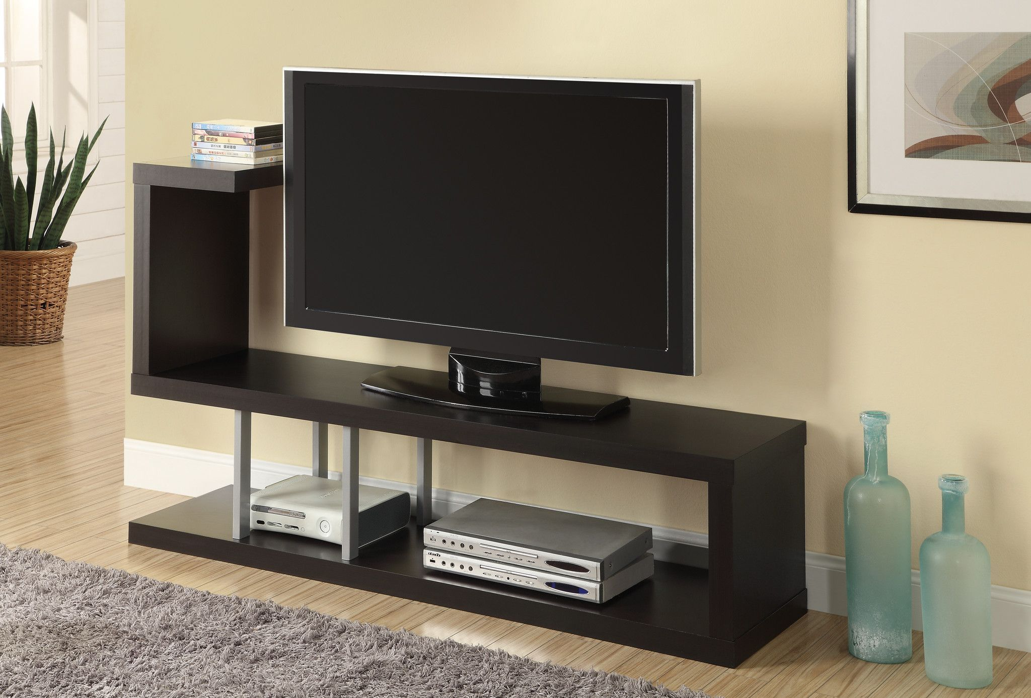 Hollow core Cappuccino TV Console Overstock Shopping