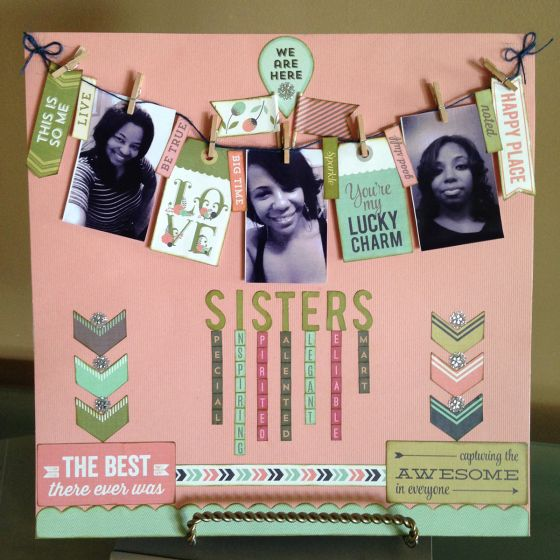 Sisters Scrapbook Page by Ardyce Seabrook Guest Designer for 3 Birds Design using Bazzill Basics 180 Piece Olivia Premium Cardstock Kit and Mega Sticker Flair Kit http://www.hsn.com/shop/3-birds/2778