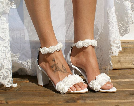 6251f018408 Block heel white leather wedding sandals  Handmade white leather ...