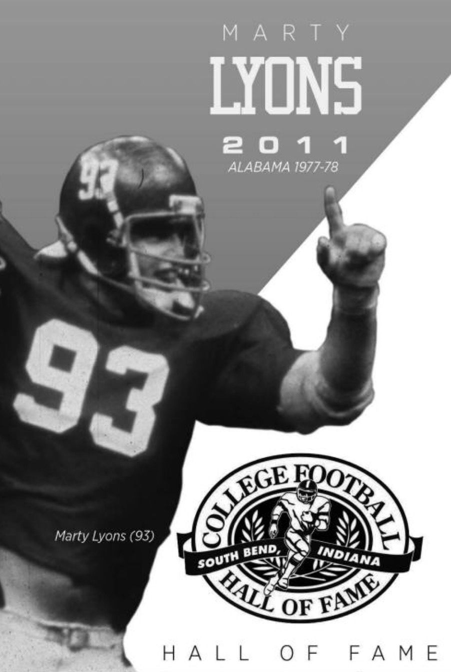 Marty Lyons College Football Hall Of Fame Alabama Rolltide