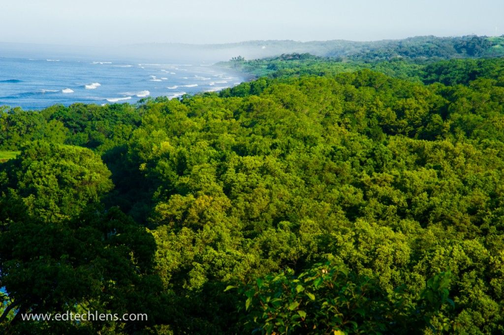 This tropical rainforest borders the Pacific Ocean. Can