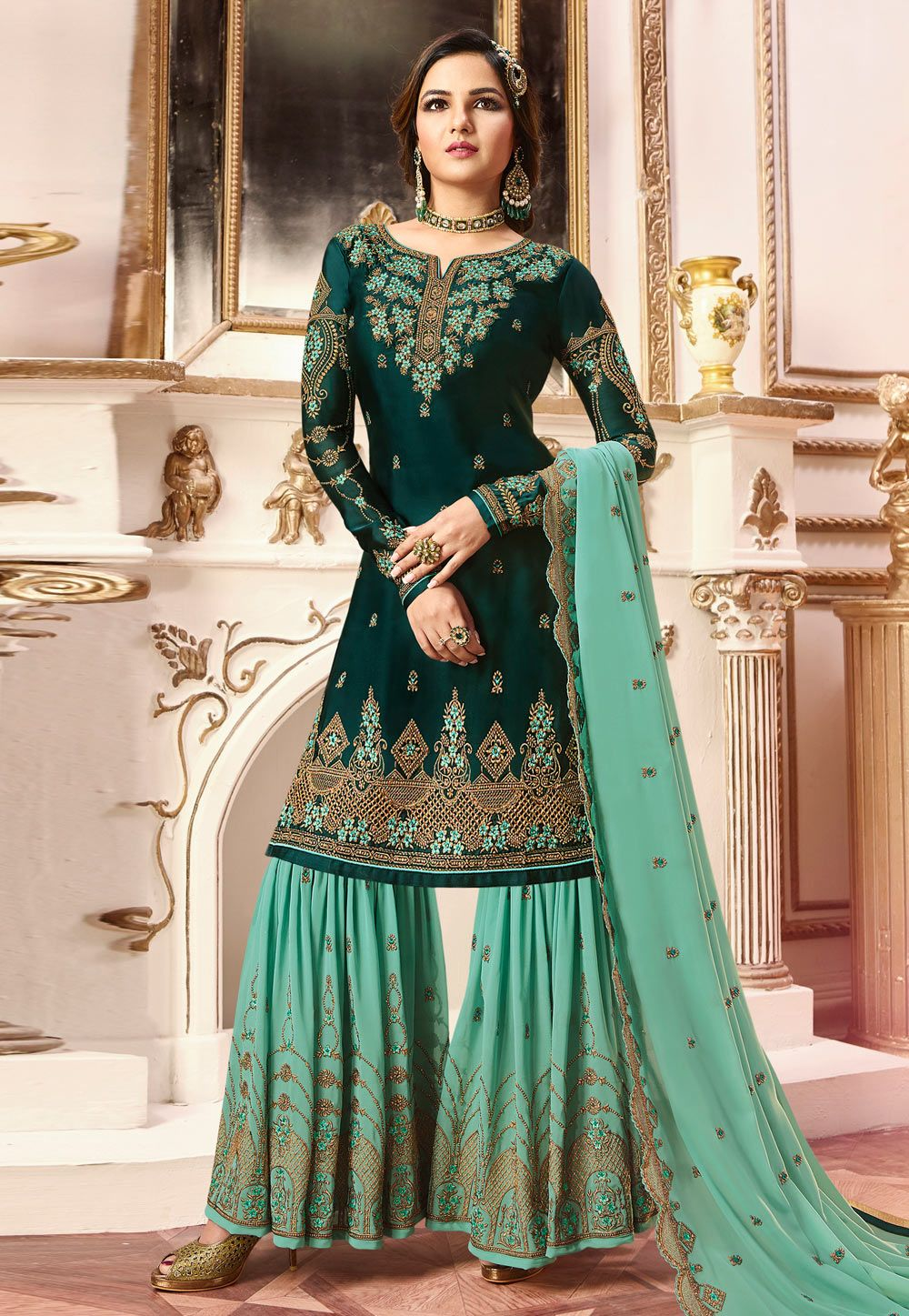 fbc0a851fe Buy Green Satin Sharara Suit 164297 online at lowest price from huge  collection of salwar kameez at Indianclothstore.com.