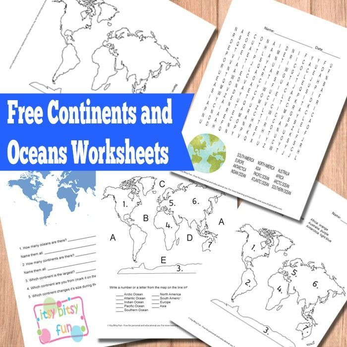 FREE Oceans and Continents Worksheets www.homeschoolgiveaways.com ...