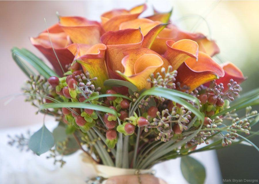 Gorgeous color pops in this bridal bouquet.